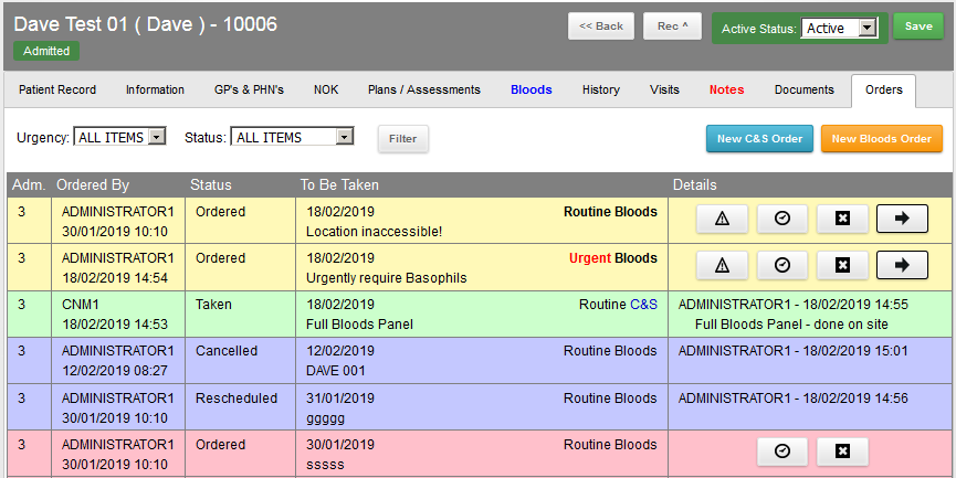 VHI EPMS Blood Test Orders